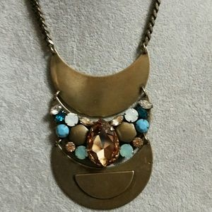 Jewelry - J.Crew inspired 3 Moon antique brass statement nec